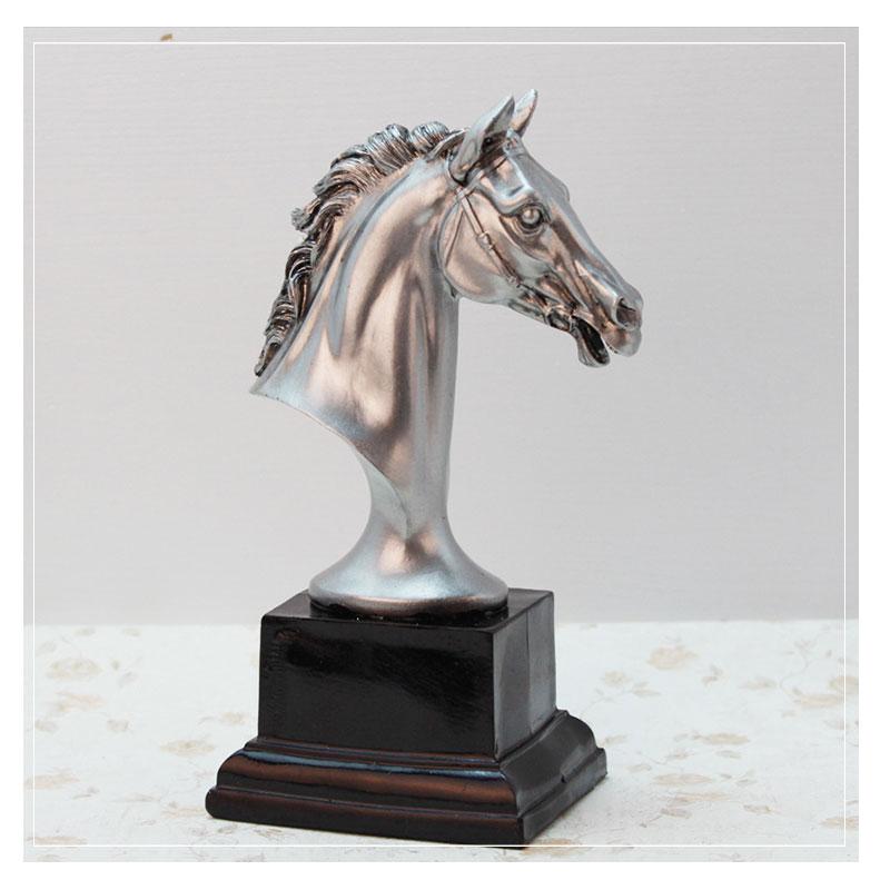 Home Horse Statue Decoration Office Living Room Desktop Decoration Decoration H23CM,Metallic Resin Horse Craft Model