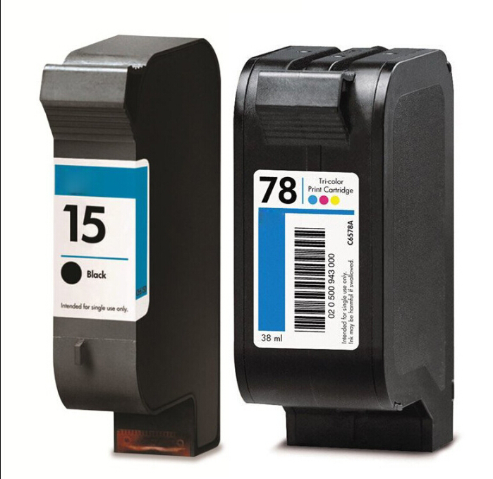 Black ink cartridge for HP 15 C6615A for HP 78 78A C6578A COLOUR INKS Deskjet 810c 812c,816c 817c 825c 840c 845c<br>