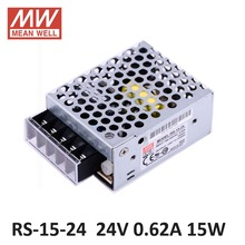 ac dc power source 24V 0.6A 15W Original Meanwell Switch Power Supply RS-15-24 Miniature size 300VAC input surge SMPS PSU 24V DC(China)