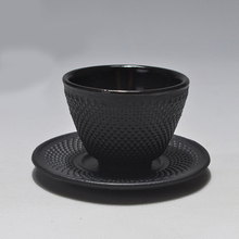 2Pcs Retro Cast Iron Tea Cup with A Saucer Art Dot Durable Water Tea Cups Saucer Chinese Tea Cups and Saucer(China)