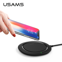 USAMS Qi wireless charger original wireless charging pad for iPhone X,for Samsung fast charger Pad,support QC 3.0 quick charge(China)