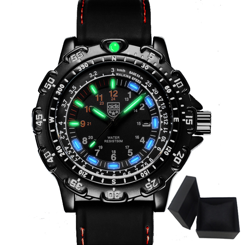 Aidis men sports watches brand casual cool military waterproof outdoor glowing quartz watch men student clock relogio masculino<br>