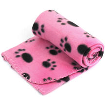 Hot Sell Lovely Design Pet Dog Cat Paw Prints Fleece Couture Blanket Mat New(China)