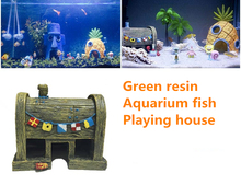 Green resin Aquarium Landscaping King Crab Fort aquarium fish tank simulation aquarium Fishes house Free shipping