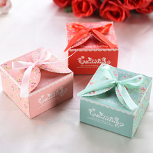 50pcs/lot DIY Happy Wedding Candy Box With Special Spring Flower Pattern Tiffany&Red&Pink Color Free Ribbon(China)