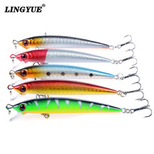 New 5pcs/lot Fishing Lures Carp Fishing Wobblers Artificial Make Crankbait Plastic Hard Baits 5 Color Minnow bait Fishing Tackle(China)