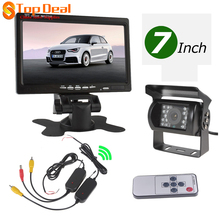 "Hotsale 12 / 24V Car IR Rear View Wireless Backup Camera Kit + 7"" TFT LCD Monitor for Truck / Van(China)"