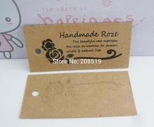 Model 03 DIY Srapbook paper tags with handmade Rose printing 50pcs strings hang garment tags sewing supplies