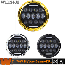 WEISIJI 1 Pair /2Pcs 78W 7'' LED Headlights for Jeep Wrangler Hummer Harley Motorcycle High/Low Beam with DRL LED Driving Lights