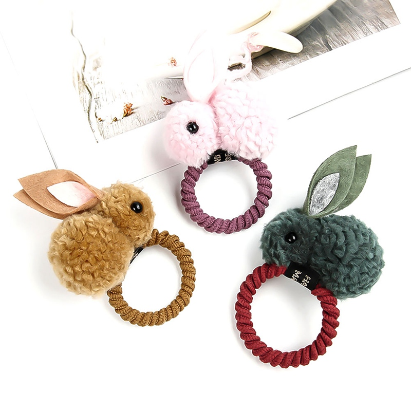 Korean Child Baby Girls Hair Rope Duckbill Clip Cute 3D Plush Rabbit Doll Rubber Band Hairpins Colored Ponytail Holder Barrettes