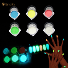 2g/Bottle Luminous Glitter Powder Neon Phosphor Nail Pigment Powder Magic Mirror Nail Art Glitter Pigment Chrome Decoration Nail(China)