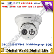 free shipping English 4MP ds-2cd2342wd-i EXIR CCTV Camera,120db ip camera POE replace old ds-2cd2332-i lower bit rate