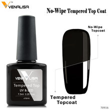 Tempered Glass Nail Topcoat VENALISA Nail Art Manicure Super Glossy No Wipe Reinforce Cover UV Gel Polish Toughened Hard Top Gel(China)