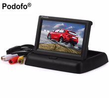 "Podofo 4.3"" inch Hot Sale Folding TFT LCD Monitor Car Rear View Color System w/2-Channel Video Input Car Video Player(China)"