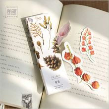 30Pcs/pack Season Blooming Floral Flowers Leaves Paper Cartoon Bookmark Promotional Gift Stationery Writing Card Film Bookmark(China)