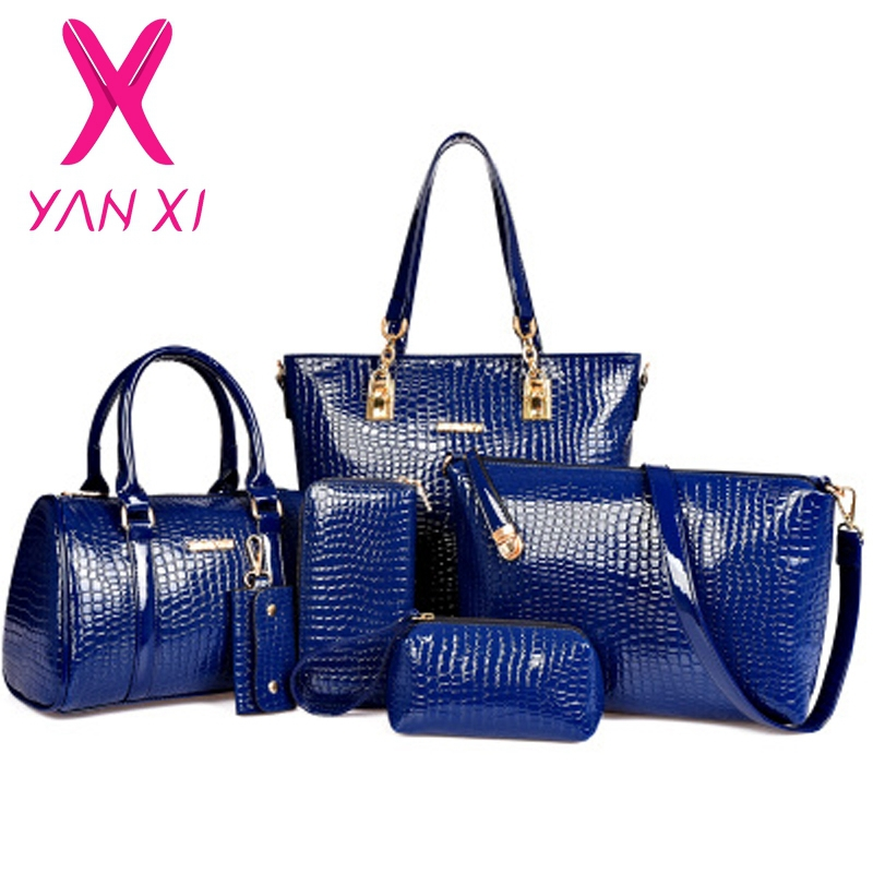 3 in 1 Fashion luxury designer crocodile PU leather Tote+Shoulder Satchel/Messenger+Clutches composite bags brand handbags set<br>