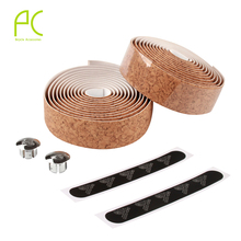 PCycling Wood High Quality Colorful Limited Edition Cycling Handle Belt Bike Bicycle Cork Handlebar Tape Wrap +2 Bar(China)