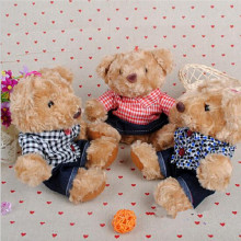3pcs/lot 20cm High Quality Kawaii Cute Lovely Teddy Bear Clothes Plaid Plush Toys & Stuffed Dolls Wedding Baby Toy Baby Gift
