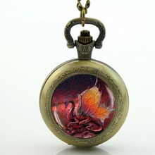 Red Dragon Pocket Watch Glass Locket Necklace Antique Pocket Watch Necklace Vintage Dragon Necklace(China)