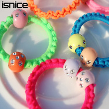 50pcs isnice Sweet Solid shine ball Elastic Hair ropes Kids Hair ties Adorable Ponytail Holder Hair Accessories(China)