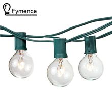 100Ft Globe String Lights G50 100 Clear Globe Bulbs 220/110V Black Wire,UL Listed, Indoor/ Outdoor Patio String Light,Extendable(China)