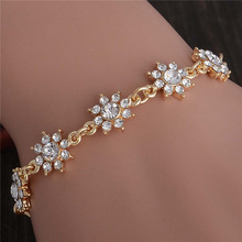 SHUANGR Wholesale Pretty Flower Gold-Color Charm Bracelets Girl Hand Bangle Austrian Crystal Women Fine Jewelry TL332