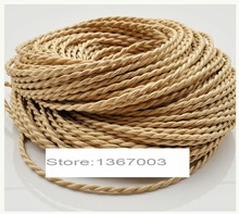 High Quality 5m, 10m, 20m/lot 2 x 0.75mm2 Vintage style Edison Twisted Twisted wire rope  fabric lamp wire free shipping
