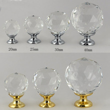 1pcs Crystal M9 glass dril Kitchen Drawer Cabinet Door Handle Furniture Knobs Hardware Cupboard Antique Brass Shell Pull Handles(China)