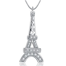 2016 Fashion Tour Eiffel Necklaces Best Friends Pendant With Zircon Stone Women Colares Femininos Free Shipping 15% off JS800(China)