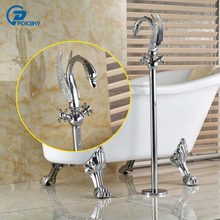 POIQIHY Chrome Brass Floor Mount Bathroom Swan Faucet Dual Handles Mixer Tap(China)
