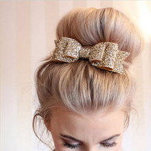 Pale Gold Glitter Bow Hair Clip for Girl and Women Barrettes Sequin Girls Bow Clip Hair Pin Luxury Girl Hairpin Hair Accessories(China)