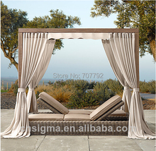 2014 Hot Sale Grey Canopy Double Garden Rattan Wicker Lounge Daybed