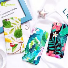 KL-Boutiques Colorful Plants Hard Case For iPhone 6 6S 7 Cover For iPhone6s 7 Plus Tropical Banana Leaf Flower Phone Back Cases