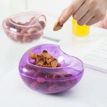Creative Heart New Year Sugar Candy Snacks Dish Dry Fruit Melon Seeds Holder Storage Nut Plate Double Tray Opening Garbage Box