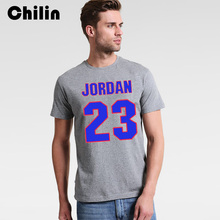 Chilin 100% Cotton T-shirt Men 2017 3XL Tshirt Summer 23 jordan Jersey Clothing T Shirt Black Red Tees Shirts Tops Mens Brand(China)