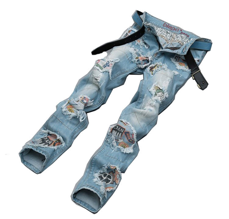 2015 fashion mens hole washed patchwork jeans male personality denim pants mens cat whisker print jeansОдежда и ак�е��уары<br><br><br>Aliexpress