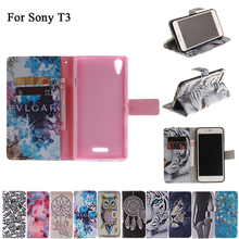 Painting Leather Case For Sony Xperia T3 M50w Luxury Flip Leather Cover For Xperia T3 M50w D5103 Cell Phone Cases Accessories