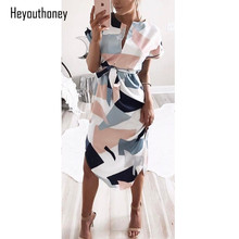 Heyouthoney Elegant Women Summer Dress V Neck Beach Tunic Long Dresses Geometric Color Block Print Sexy Bohemian Sashes Vestidos(China)
