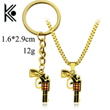 wholesale 20/pc Hip Hop Pistol Gun Golden keychain & Pendants Jewelry Women kolye Application keychain For Men Maxi key ring