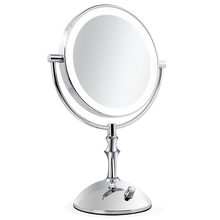 1Pcs USB Power Magnifying Lady Beauty Makeup Mirror Wall Mounted Bathroom Toilet Cosmetic Mirror Folding Acoustic Control Mirror