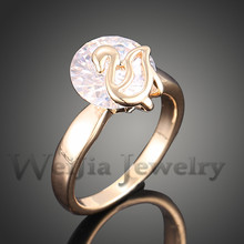 New Arrival 2014 Copper Swan Rings With AAA Cubic Zirconia CZ Crystal Gold color Rings For Women Free Shipping J01968