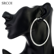 SRCOI 11.11 Fashion Big Crystal Earrings Hoops Large Hoop Earrings Silver Oorbellen Rond Creoles For Women Circle Jewelry