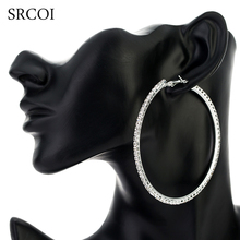 SRCOI 11.11 Fashion Big Crystal Earrings Hoops Large Hoop Earrings Silver Oorbellen Rond Creoles For Women Circle Jewelry(China)