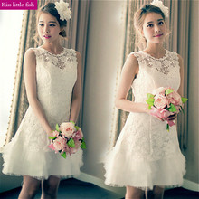 2033 Free shipping Cheap elegant lace ivory  short bridesmaid dresses  fast shipping