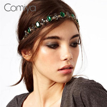 Comiya Fashion Brand Wedding Hair Accessories Headbands Green Crystal Mosaic Indian Style Jewelry Tiara Noiva Headband  Coroa