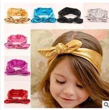 Korean children's jewelry bronzing baby rabbit ears hair band knot head wrap head hair baby girl accessories turban headband