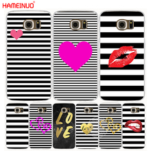 HAMEINUO heart shape love stripe simple design cell phone case cover for Samsung Galaxy A3 A310 A5 A510 A7 A8 A9 2016 2017(China)