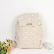 YILE Handmade Cotton Linen Draw String Backpack Student Book Bag White Daisy WF06 SS