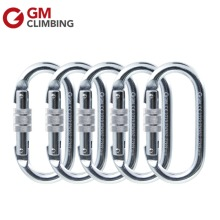 5 Pack 22KN/ 5000lbs Steel Oval Shape Carabiner / Karabiner Screwgate Locking for Climbing By CE GM(China)