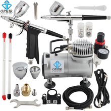 OPHIR 2 Dual-Action Airbrush Kit with PRO Air Compressor for Model Paint 110V 220V Cake Airbrush Compressor Set_AC089+004+069(China)